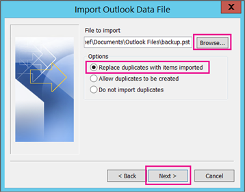pst file to outlook