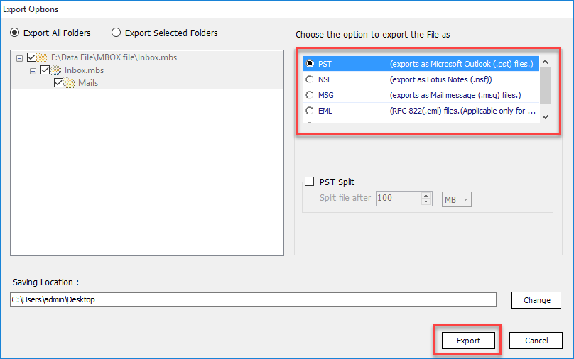 export mbox file to pst